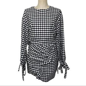PrettyLittleThing Gingham Long Sleeve Dress Sz12